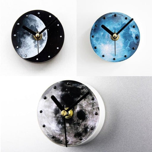 Fashionable Creative Universe Planet Moon Pattern Fridge Magnet Clock Waterproof Sucker Moon Refrigerator Wall Clock  Moon Refrigerator Fashionable Creative Universe Planet Moon Wall Clock Home Decor