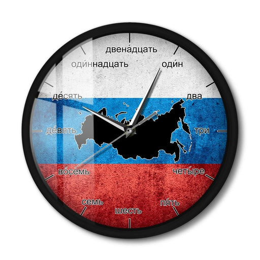 Flag Of Russia LED Wall Clock For Living Room Vintage Russian Language Numbers Sound Control Night Light Wall Clock Metal Frame