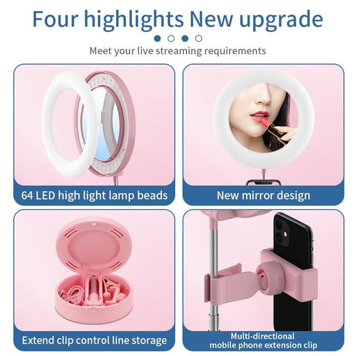 Folding 6 Inch Led Ring Light for Selfie Makeup and