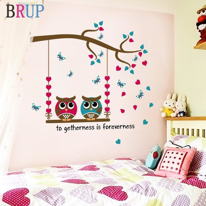 Friendly Cartoon Owls Wall Stickers for Kids Room Lovely