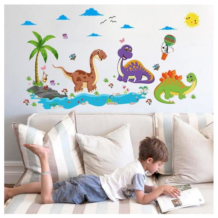 Friendly Dinosaur Wall Stickers for Kids Rooms Cartoon