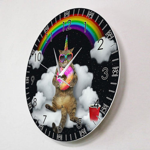 Funny Meowgical Unicorn Cat With Rainbow Donut HD Printed Wall Clock Caticorn Cat Wall Art Girl Room Wall Watch Cat Lovers Gift