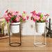 Gardening Ceramic Flower Pot Metal Rack Garden Plant Planter Succulent Stand Holder Box Ornament Decor