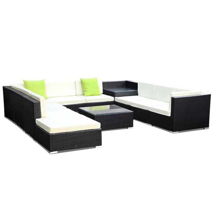 Gardeon 11pc Outdoor Furniture Sofa Set Wicker Garden Patio