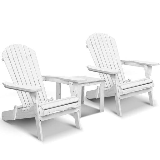 Gardeon 3 Piece Outdoor Adirondack Beach Chair and Table Set