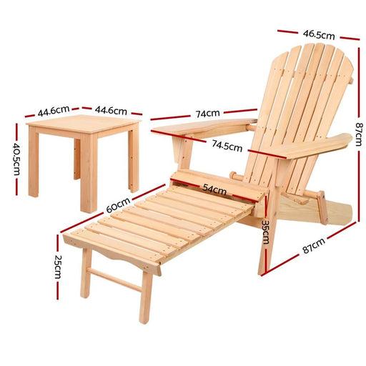 Gardeon 3 Piece Outdoor Beach Chair and Table Set -
