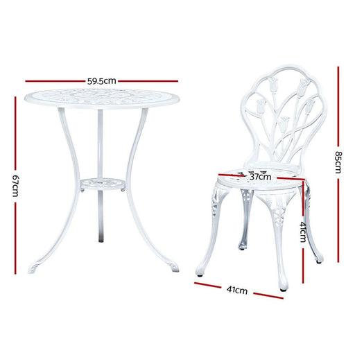 Gardeon 3pc Outdoor Setting Cast Aluminium Bistro Table
