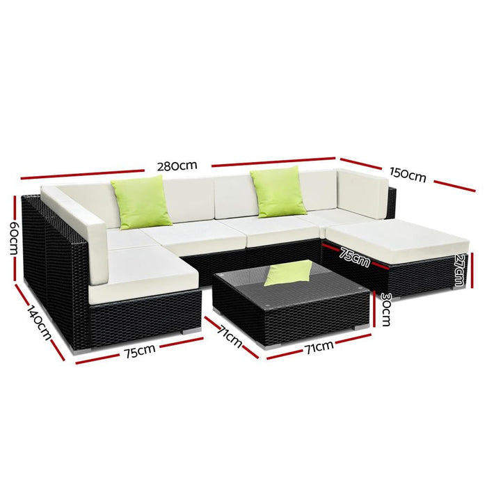 Gardeon 7pc Outdoor Furniture Sofa Set Wicker Garden Patio