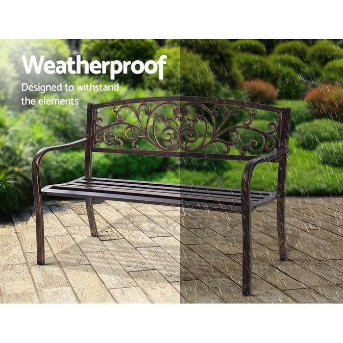 Gardeon Cast Iron Garden Bench - Bronze - Furniture >