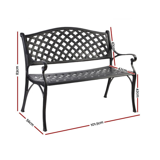Gardeon Garden Bench Outdoor Seat Chair Cast Aluminium Park