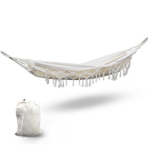 Gardeon Hanging Tassel Hammock Swing Bed Cream goslash fast delivery fast delivery