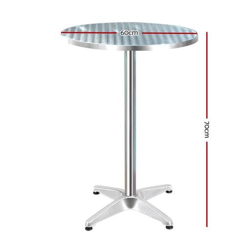 Gardeon Outdoor Bar Table Aluminium Dining Table Round 70cm