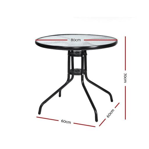 Gardeon Outdoor Dining Table Bar Setting Steel Glass 70cm -