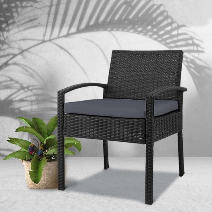 Gardeon Outdoor Furniture Bistro Wicker Chair Black