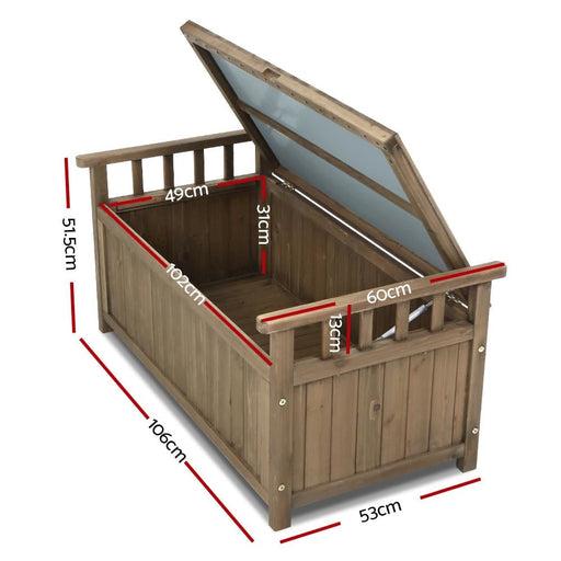 Gardeon Outdoor Storage Box Wooden Garden Bench Chest Toy