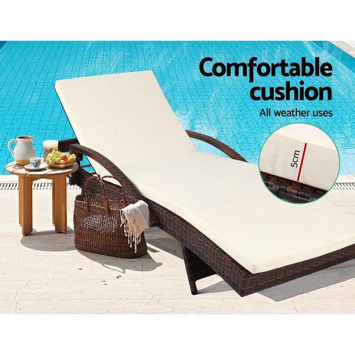 Gardeon Outdoor Sun Lounge - Brown - Furniture > Outdoor