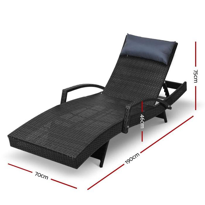 Gardeon Outdoor Sun Lounge Furniture Day Bed Wicker Pillow