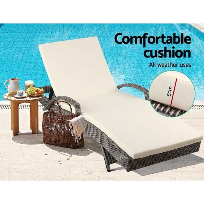 Gardeon Outdoor Sun Lounge - Grey - Furniture > Outdoor