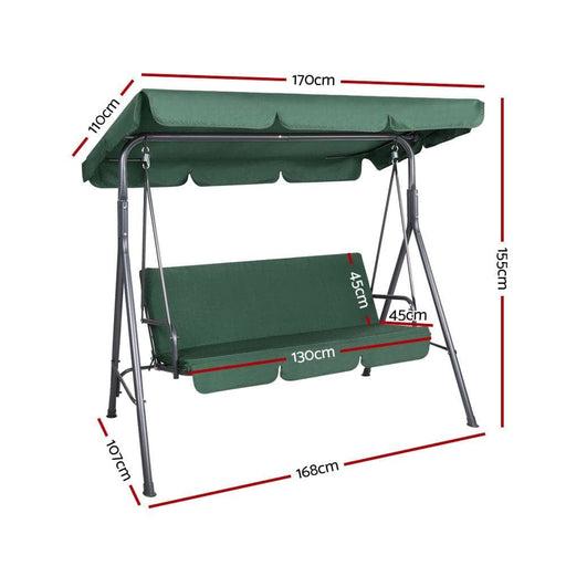 Gardeon Outdoor Swing Chair Hammock 3 Seater Garden Canopy