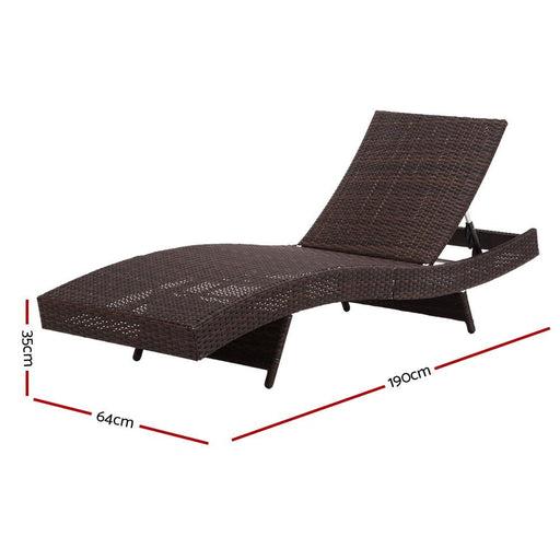 Gardeon Outdoor Wicker Sun Lounge - Brown - Furniture >