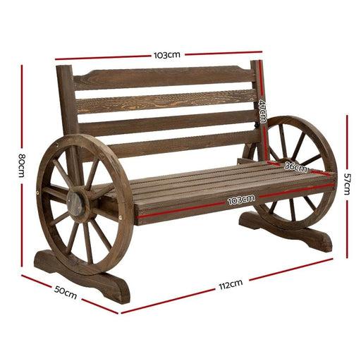 Gardeon Park Bench Wooden Wagon Chair Outdoor Garden