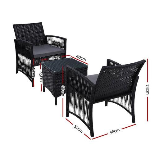 Gardeon Patio Furniture Outdoor Bistro Set Dining Chairs