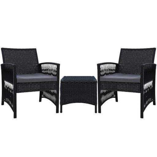 Gardeon Patio Furniture Outdoor Bistro Set Dining Chairs Setting 3 Piece Wicker