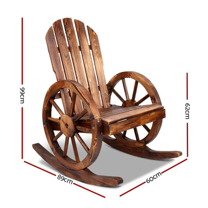 Gardeon Wagon Wheels Rocking Chair - Brown goslash fast delivery fast delivery