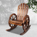 Gardeon Wagon Wheels Rocking Chair - Brown - Furniture >