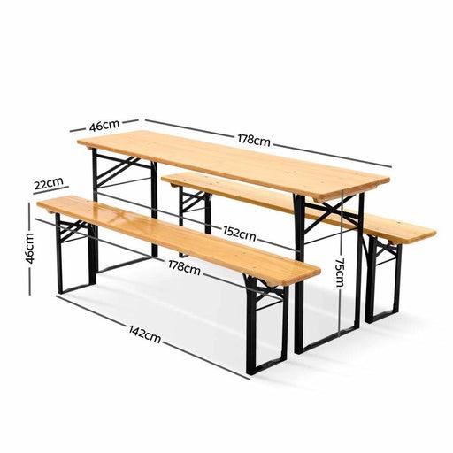 Artiss Wooden Outdoor Foldable Bench Set - Natural -