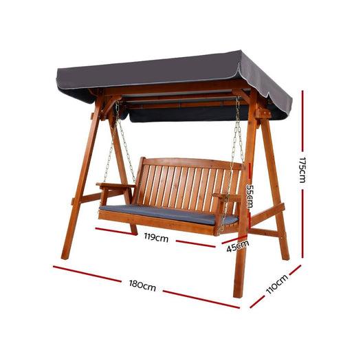 Gardeon Wooden Swing Chair Garden Bench Canopy 3 Seater