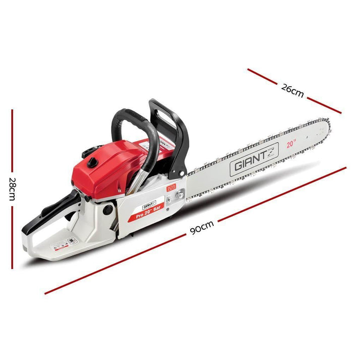 Giantz 58CC Commercial Petrol Chainsaw - Red & White goslash fast delivery fast delivery