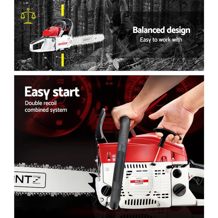 Giantz 58cc Commercial Petrol Chainsaw - Red & White - Tools
