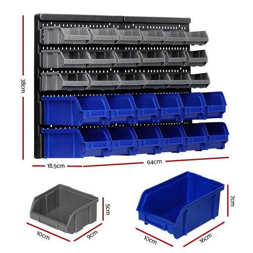 Giantz 60 Bin Wall Mounted Rack Storage Tools Garage