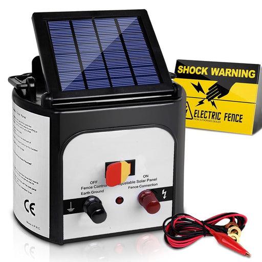 Giantz 8km Solar Power Electric Fence Charger Energiser 0.3J White