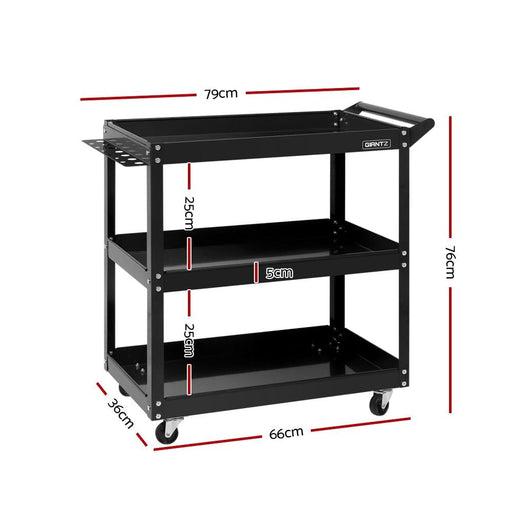 Giantz Tool Cart 3 Tier Parts Steel Trolley Mechanic Storage