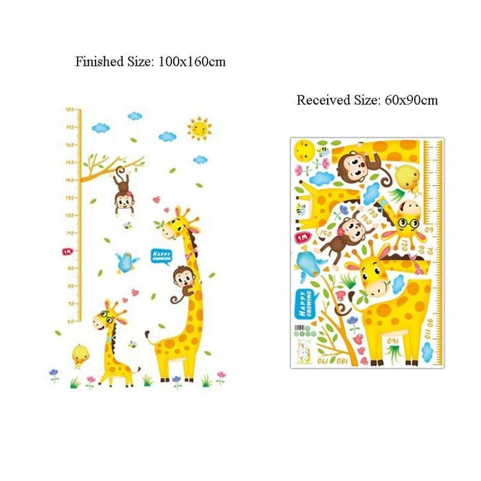Giraffe and Monkey Height Ruler Measure Wall Stickers
