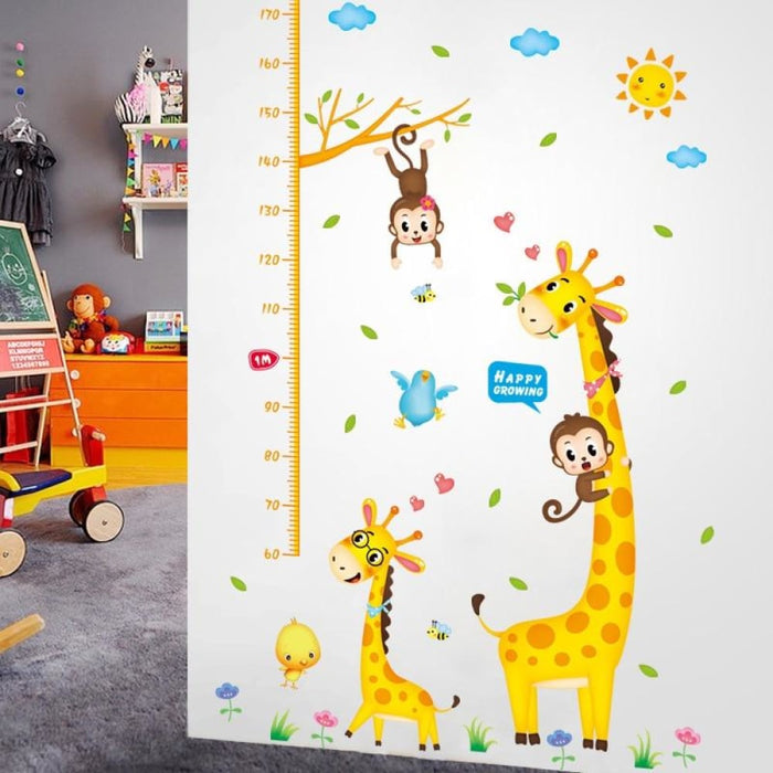 New Giraffe and Monkey Wall Stickers Height Ruler Measure