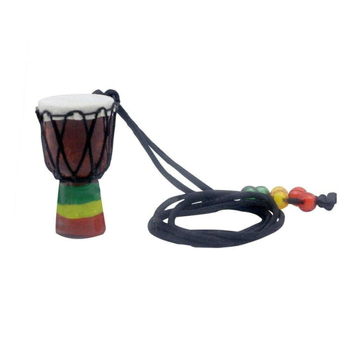 Handmade Dejembe African Drum Necklace Percussion Instrument Accessories Wood Color with Black Wire