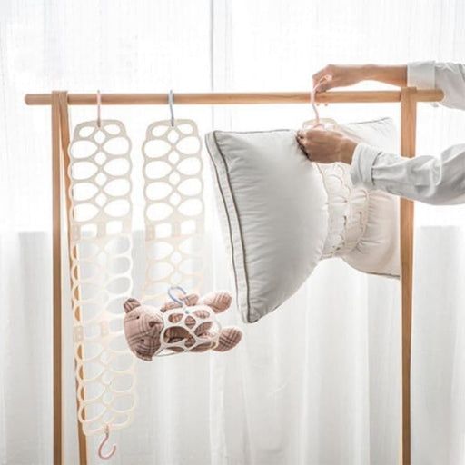 Hanging pillow holder Dry pillow rack Multi-use Drying toy Doll rack adjustable balcony clothes holder Foldable hanger