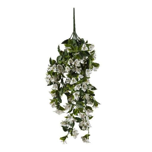 Hanging White Artificial Bougainvillea Plant UV Resistant 90cm