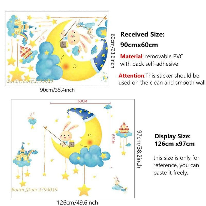 Cartoon Happy Rabbit on the Moon Wall Stickers for Living