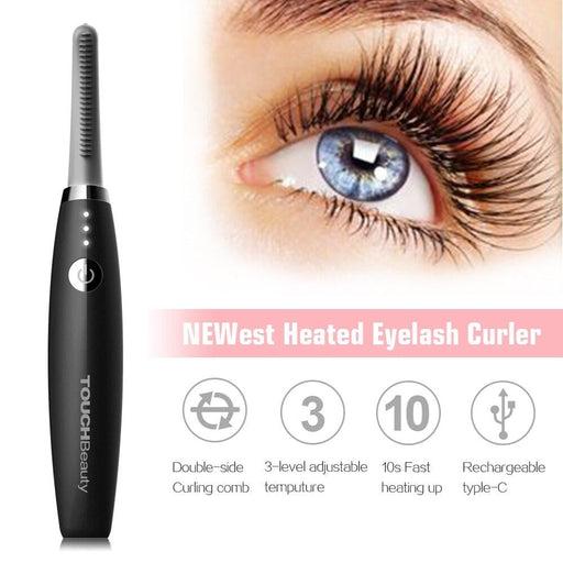 Heated Eyelash Curler, TOUCHBeauty Electric Eyelash Curler, Rechargeable Eyelash Curler, Smart Makeup Eye Lashes Brush TB-1859B