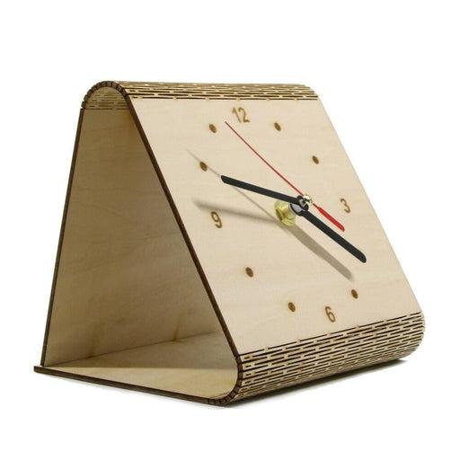 Personalized Flex Time Clock Sleek Minimalist Wood Table Clock Custom Living Hinge Wooden Desk Clock Modern Simple Wooden Clock