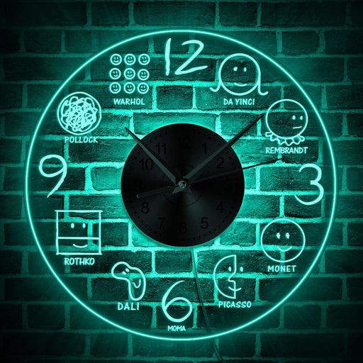 History Of Art in Smiley Face Lighting Art Artist Decorative LED Wall Clock Da Vinci Monet Picasso Dali Art lovers Home Decor