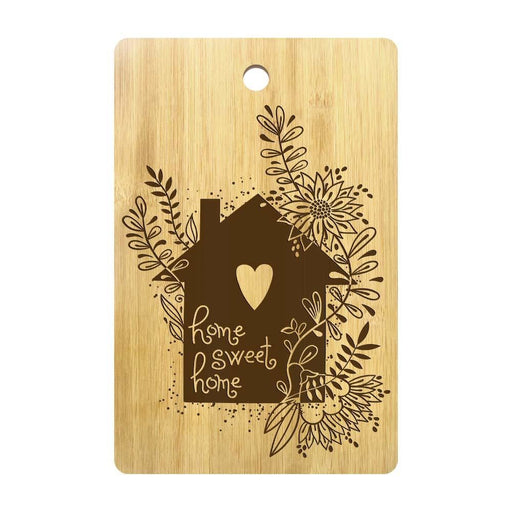 Floral House Home Sweet Home Cutting Board Custom Laser Engraved Bamboo Chopping Board First Home Housewarming Gift for Couple