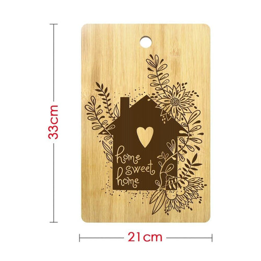 Floral House Home Sweet Home Cutting Board Custom Laser Engraved Bamboo Chopping Board First Home Housewarming Gift for Couple (320x210mm)