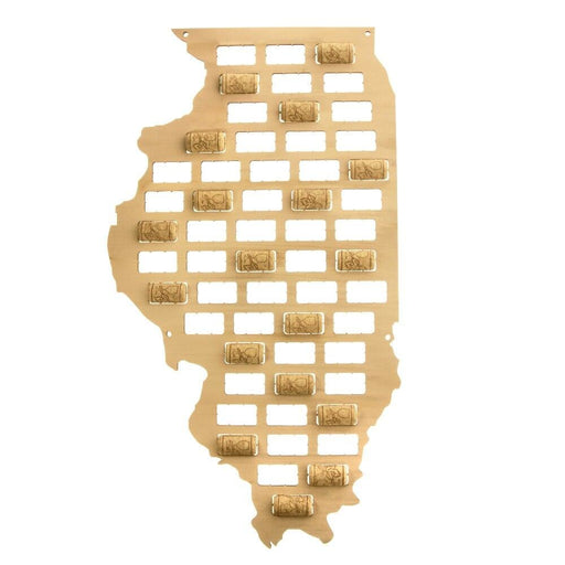 Illinois State of USA Wine Cork Map Illinois State Sign Wooden Cutout Wall Art Deco Map Gift for Wine Lovers Collector Display