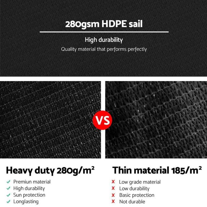 Instahut 280gsm 6x7m Sun Shade Sail Canopy Rectangle - Home