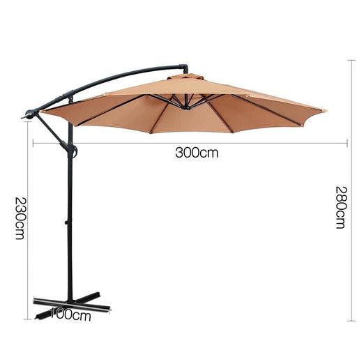 Instahut 3m Cantilevered Outdoor Umbrella - Beige -